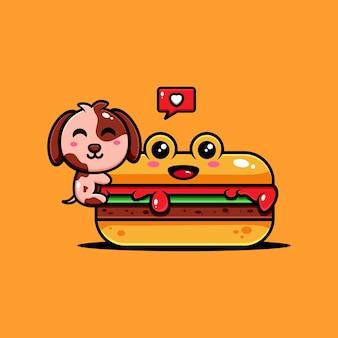 Netter welpencharakterentwurf themenorientierter köstlicher hotdog