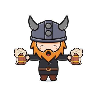 Netter wikinger, der bier hält, feiern oktoberfestkarikaturikonenillustration. entwerfen sie isolierten flachen cartoon-stil
