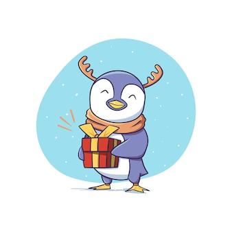 Netter winter-pinguin-charakter mit rentiergeweih, der geschenkbox-aufkleber-illustration hält