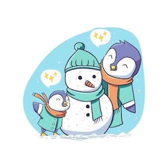 Netter winter-pinguin-elternteil und kind bauen schneemann zusammen charakter-aufkleber-illustration