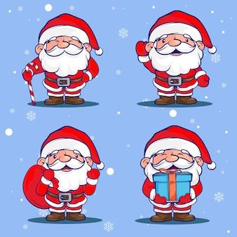 Netter winter santa claus charakter cartoon für weihnachten