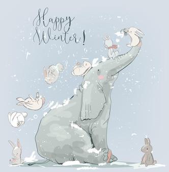 Netter winterelefant mit weißen hasen. vektorkarte