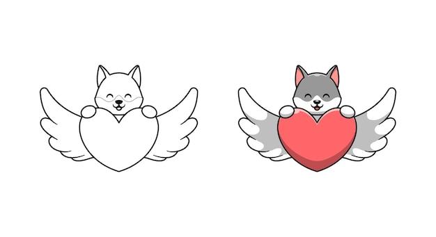 Netter wolf mit liebes-cartoon-malvorlagen für kinder