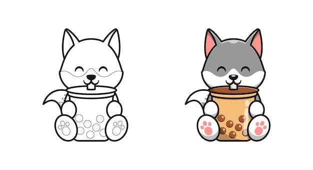 Netter wolf trinkt bubble tea cartoon malvorlagen für kinder