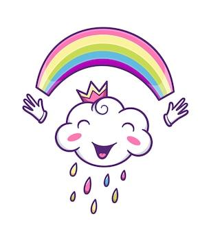 Netter wolkencharakter mit buntem regenbogen