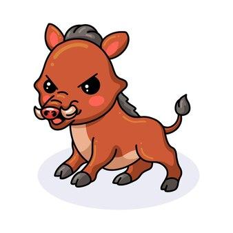 Netter wütender kleiner wildschwein-cartoon