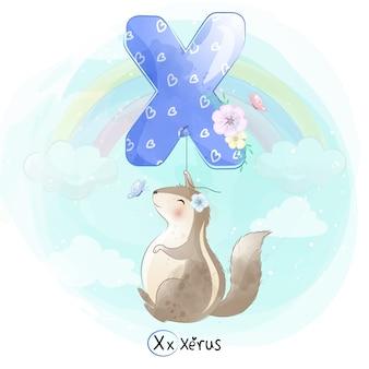 Netter xerus, der mit alphabet-x-ballon fliegt