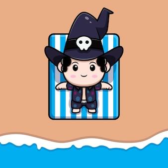 Netter zauberer, der am strand-märchen-avatar-charakter ein sonnenbad nimmt. cartoon-illustration