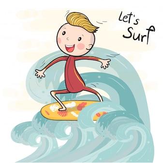 Netter zeichnungsbrandungsjunge auf dem surfbrett, das auf große welle schwimmt