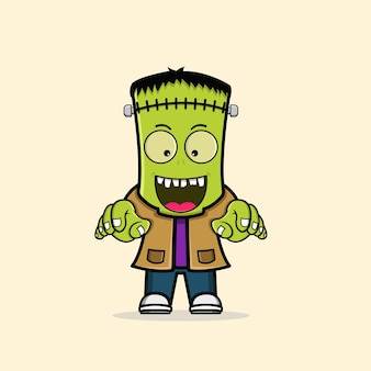 Netter zombie frankenstein charakter freier vektor
