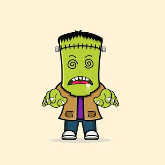 Netter zombie frankenstein halloween-charakter kostenlosen vektoren