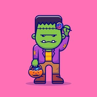 Netter zombie mit süßigkeit lutscher