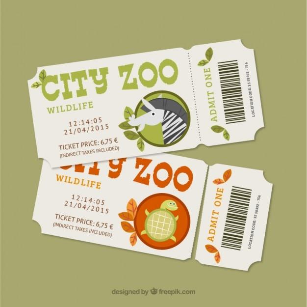 Netter zoo-tickets mit einem zebra und einer schildkröte