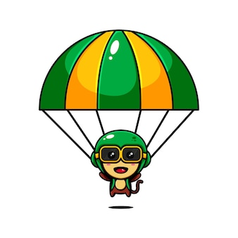 Nettes affencharakterentwurfsthema, das einen fallschirm spielt