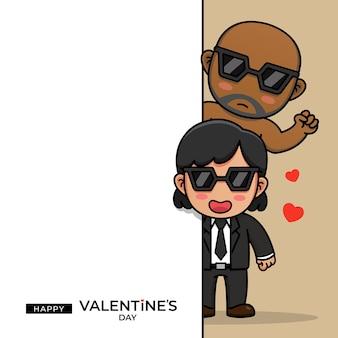 Nettes agentenpaar mit glücklichem valentinstaggruß