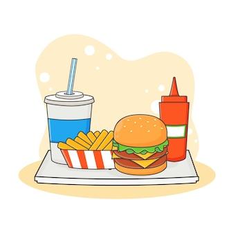 Nettes alkoholfreies getränk, burger, pommes frites und soßenikonenillustration. fast-food-icon-konzept. cartoon-stil