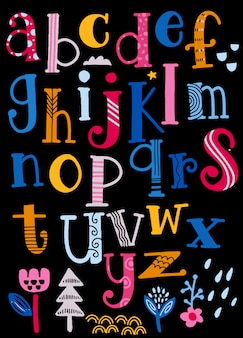 Nettes alphabet mit den strudeln lokalisiert auf hintergrund für text