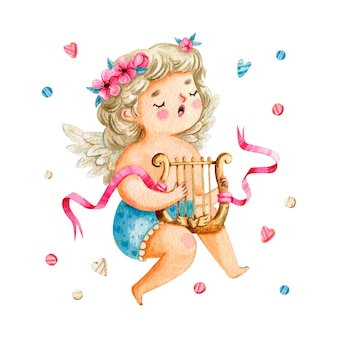 Nettes amor-mädchen mit blondem haar, das die harfe singt und spielt