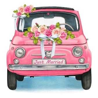Nettes aquarellrosa glänzendes vintages auto, hochzeitstag