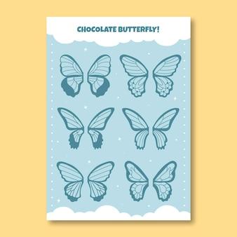 Nettes arbeitsblatt zum herstellen von schokoladenschmetterlingen