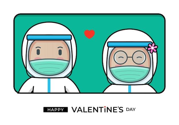 Nettes arztpaar mit glücklichem valentinstaggruß