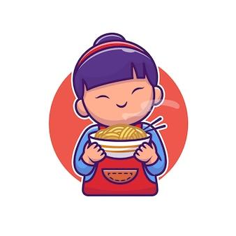 Nettes asiatisches mädchen, das nudel-karikatur hält