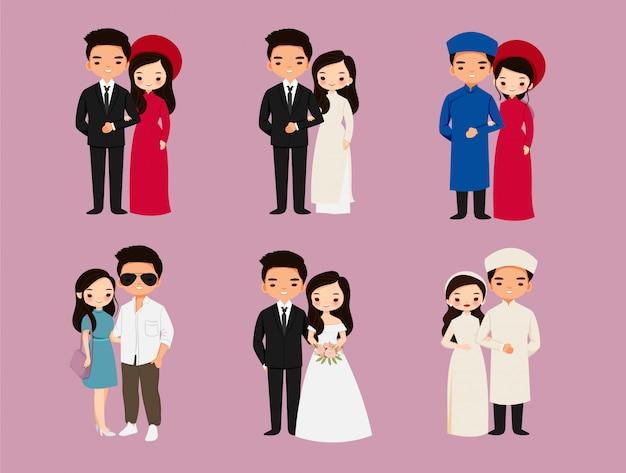 Nettes asiatisches paar, vietnamesische zeichentrickfigurensammlung