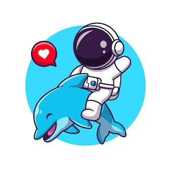 Nettes asrtronout mit delphin-karikatur-illustration.