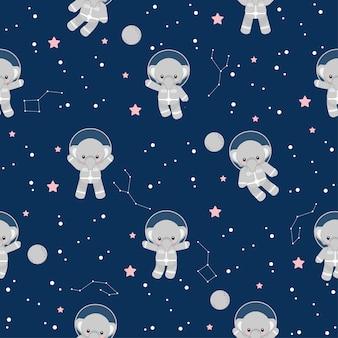 Nettes astronaut-elefant-tierkarton-nahtloses muster