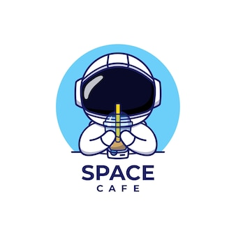 Nettes astronautenlogokonzept isoliert