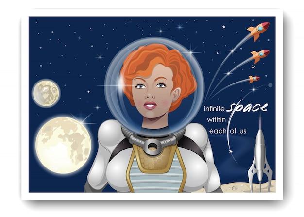 Nettes astronautenmädchen gegen einen sternenhimmel