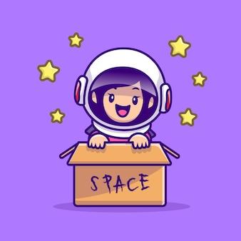 Nettes astronautenmädchen im kasten-karikaturillustration. people technology icon concept