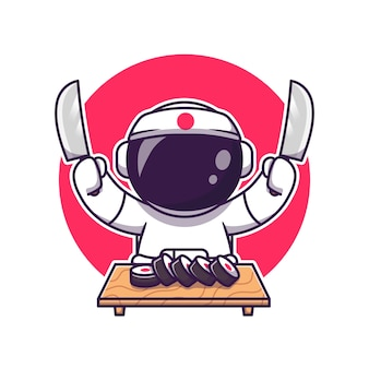 Nettes astronautensushi mit messerkarikatur. science food icon concept isoliert. flacher cartoon-stil