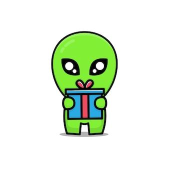 Nettes außerirdisches geschenk eine box-cartoon-illustration