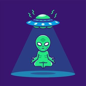 Nettes außerirdisches schweben und meditation unter der karikaturillustration des ufo-raumfahrzeugkonzepts