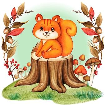 Nettes baby buntes eichhörnchen auf einem baumstumpf mit pilzen und blättern