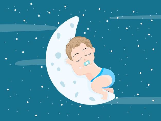 Nettes baby, das auf einem fliegenden mond im himmel mit mondlicht im schönen himmel schläft