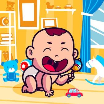 Nettes baby, das mit spielzeugkarikatur spielt