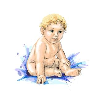 Nettes baby, das von einem spritzer aquarell, hand gezeichnete skizze sitzt. illustration von farben