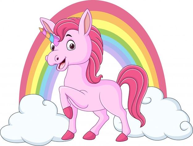 Nettes baby-einhorn mit wolken und regenbogen