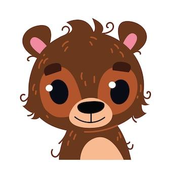 Nettes baby fröhlicher teddybär. waldbestie-avatar. porträtillustration lokalisiert auf weiß. design für babydruck jungen und mädchen, bildungskarten, clipart-spaß