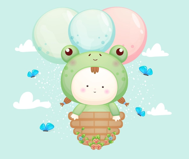 Nettes baby im froschkostüm, das mit ballon fliegt. maskottchen-karikaturillustration premium-vektor