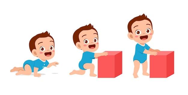 Nettes baby im wachstumszyklus-fortschrittssatz