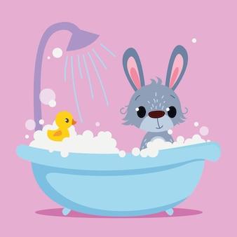 Nettes baby-kaninchen badet in der badewanne vektordruck für kinder zeichentrickfigur