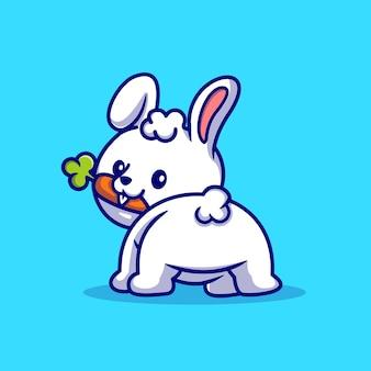 Nettes baby-kaninchen, das karotte-karikatur-vektor-icon-illustration isst. tier natur symbol konzept isoliert premium-vektor. flacher cartoon-stil