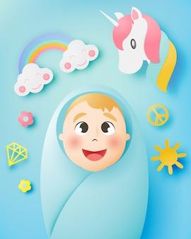Nettes baby mit pastellentwurf und papierkunst vector illustration