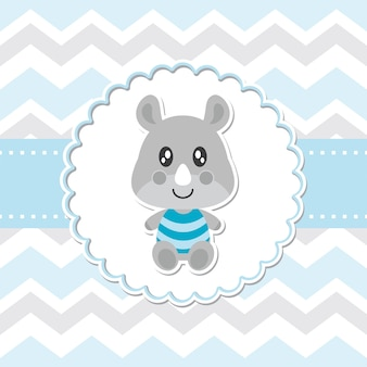 Nettes baby-nashorn lächelt auf blumenrahmenvektor-karikaturillustration für babypartykartenentwurf, postkarte und tapete
