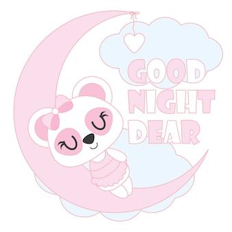 Nettes baby-panda schläft auf mondvektor-karikaturillustration für babyparty-kartenentwurf, kindt-shirt entwurf und tapete