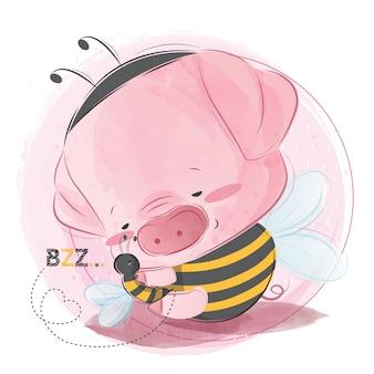 Nettes baby piggy, das den bienen-freund hält