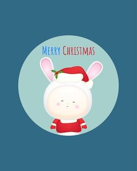 Nettes baby-sankt-kostüm für kartenillustration der frohen weihnachten premium-vektor